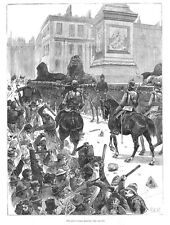 LONDON RIOTS Life Guards In Defence of Trafalgar Square - Antique Print 1887