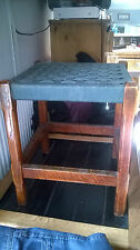Vintage Wooden Stool with Olive Green Woven Seat
