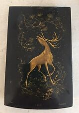 Antique Vintage Soviet Russian Signed Stag Deer Lacquer Box USSR Gold Black