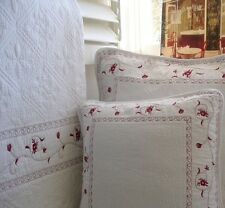 Crisp White French Throw Quilt Blanket +Free Cushion Cover Burgundy Trim Marcela
