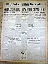 1916 WW I newspaper w banner headline on THE BATTLE of the SOMME in FRANCE