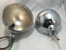 "KingBee Chrome 7"" Street Rod Headlight Lamp Buckets Assembly Pair Wired King Bee"