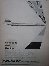 1969 PUB DUNLOP AVIATION SST CONCORDE TYRE WHEEL BRAKE PNEU FREIN ORIGINAL AD