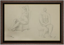 Francisco Zuniga Original Drawing Hand Signed Female Portrait Artwork Framed SBO