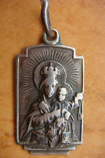 ANTIQUE SILVER VIRGIN OF CARMEL BEAUTIFULLY DETAILED  MEDAL  PENDANT