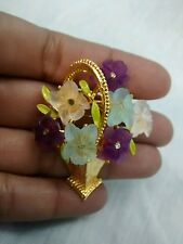 Pretty   Vintage signed Art molded lucite flower bouquet gold tone pin brooch