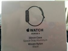 APPLE WATCH 38MM SERIES 2 SPACE GRAY ALUMINUM BLACK WOVEN NYLON BAND ~NEW SEALED