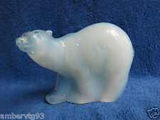 Sweden Reijmyre Paul Hoff glass polar arctic bear figurine WWF animal white blue
