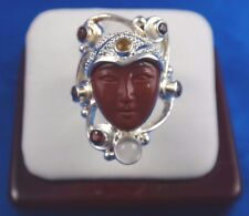 SAJEN Hand Crafted Sterling Silver Mix Stone Ring w/ Jasper Goddess Face Sz 7