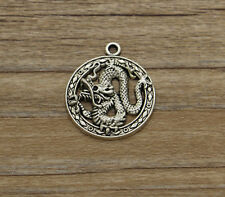 10 Dragon Charms Fairy Tale Fantasy  Medieval Charm Antique Silver Tone 23*27
