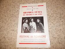 1956.Grandes fêtes du Trégor et léon.Programme festival..
