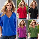 Damen V-Ausschnitt Bluse Chiffon Kurzarm Tops Freizeit Shirts Oberteile Gr.34-42