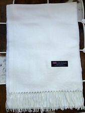 100% Cashmere Scarf WHITE Solid Made in Scotland SOFT Warm NEW Soft