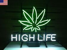 NEW HIGH LIFE CANNABIS WEED LEAF REAL GLASS NEON LIGHT BEER BAR SIGN FROM USA
