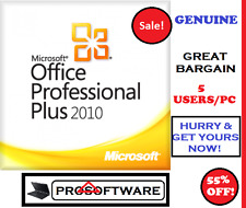 Genuine Microsoft Office Professional Plus 2010 Pro Plus Licenza Chiave 5 utenti/PC