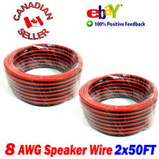 100FT 30m (2x 50FT) High Definition 8 Gauge AWG Speaker Wire Cable Home Theater