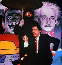 Peter Max Art Print The Artist Sitting in Front of His Work: Dali & Einstein