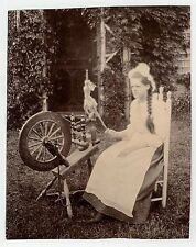 2 photos - 1900s - living room with SPINNING WHEEL and woman with hers