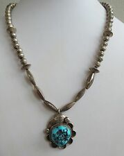 Fine VTG Navajo sterling silver turquoise bench beach necklace w/ pendant Van V