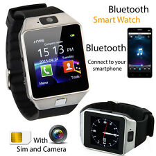 Black SmartWatch Armbanduhr Bluetooth iOS Android für Samsung iPhone SIM Kamera