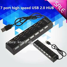 New Black 7 Port USB 2.0 High Speed HUB Sharing Switch For Laptop PC OY