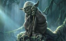 "Yoda Master Jedi Star Wars Fabric Poster 21"" x 13""  Decor 02"