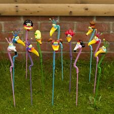 Exhart Nerdy Necks Garden Stakes - Pack of 12 - Hand Painted - NEW