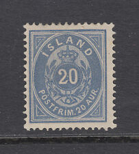 Iceland Sc 17 MLH. 1882 20a blue Numeral under Crown, F-VF