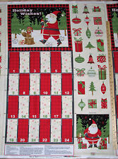 "Santa & Friends Debbie Mumm Christmas Advent Calendar Fabric Panels 23""  #67542"
