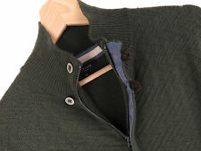 F176 TED BAKER ZIP CARDIGAN JUMPER ORIGINAL PREMIUM WOOL CABLE KNIT GREEN size 4