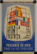 Affiche DIEU DANS LA VIE PUBLIQUE Litho 1958 JEAN LEFORT