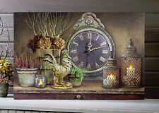 Vintage style Working Clock Rooster Candles Lighted Picture 12437 NEW 6hr Timer