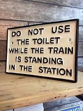Black & White Cast Iron Train Station Railway Sign Toilet sign