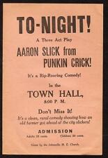 JOHNSVILLE MARYLAND PENNSYLVANIA*AARON SLICK FROM PUNKIN CRICK*TOWN HALL*FLIER
