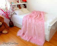 4' x 5' Light Pink Mongolian Faux Fur Premium Throw Decor Blanket Comforters NEW