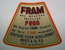 Aufkleber für Ölfilterbehälter  (Fram)  JP passend für Porsche 356