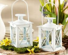25 White Luminous Mini Lantern Tea Light Holder Wedding Favors Table Decor