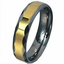 TUNGSTEN CARBIDE RING with Gold Plated Band & Faceted Edges, size 11
