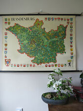 VINTAGE PULL DOWN HISTORICAL SCHOOL MAP / WALL CHART OF BRANDENBURG - HERALDRY