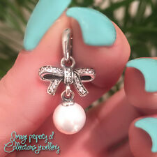 PEARL BOW Necklace Pendant 925 Solid Sterling Silver White Pave Sentiments