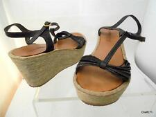 KENNETH COLE WOMEN'S 7  'ON THE ROPES' LEATHER HEMP PLATFORM ANKLE STRAP SANDALS