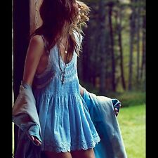 FREE PEOPLE ALWAYS FOREVER TUNIC BLUE SIZE M