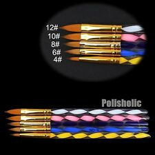 5Pcs/Set Nail Art Painting Brush For Powder Glitter UV Acrylic Nail DIY Tools