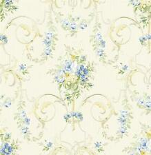 Wallpaper Designer Traditional French Style Blue & Yellow Floral Lattice Scroll