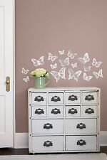 BUTTERFLIES Mirrored Silver 16 Wall Decals Room Decor Foil Butterfly Stickers