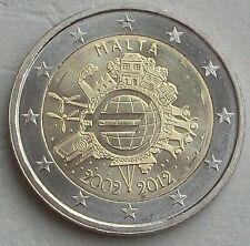 """2 EUR Gedenkmünze Malta 2012 """"10 Jahre Euro"""" unz"""
