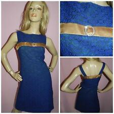 50s 60s BLUE GREEN GOLD DIAMANTE TRIM MOD COCKTAIL DRESS 10 S 1950s MAD MEN