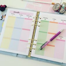 A5 Planner PASTEL Insert Filofax Kikkik Week On 2 Pages WO2P 13 Weeks Printed