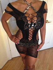Connie's X Black Fishnet Bikini Cover Up Mesh Cut Out Design fits L-XXL