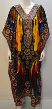 PLUS SIZE FUNKY FACE PRINT KAFTAN MAXI DRESS BLUE MULTI 18 20 22 24 26 28 30